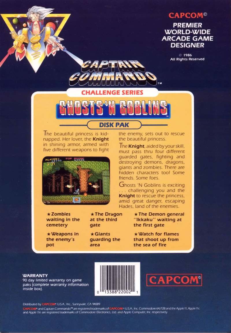 Ghosts 'N Goblins Commodore 64 Back Cover