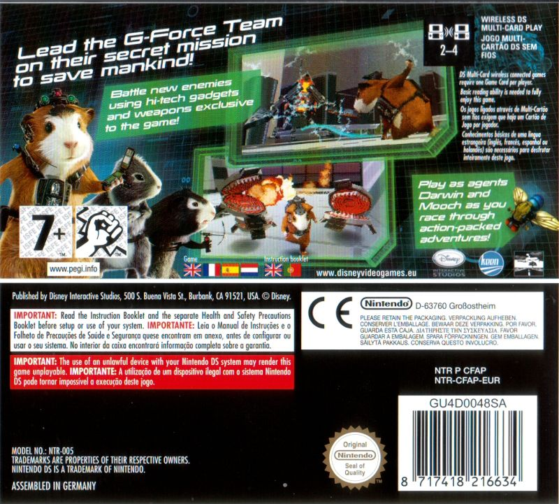 Disney G Force 2009 Nintendo Ds Box Cover Art Mobygames