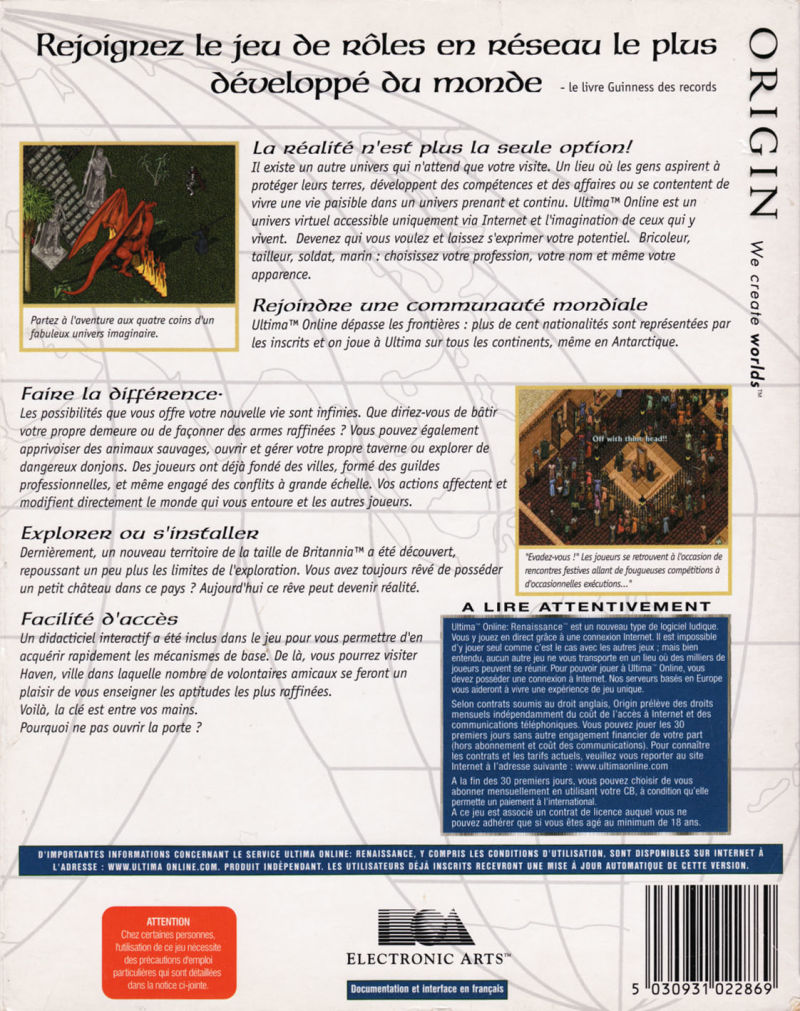 Ultima Online: Renaissance Windows Back Cover