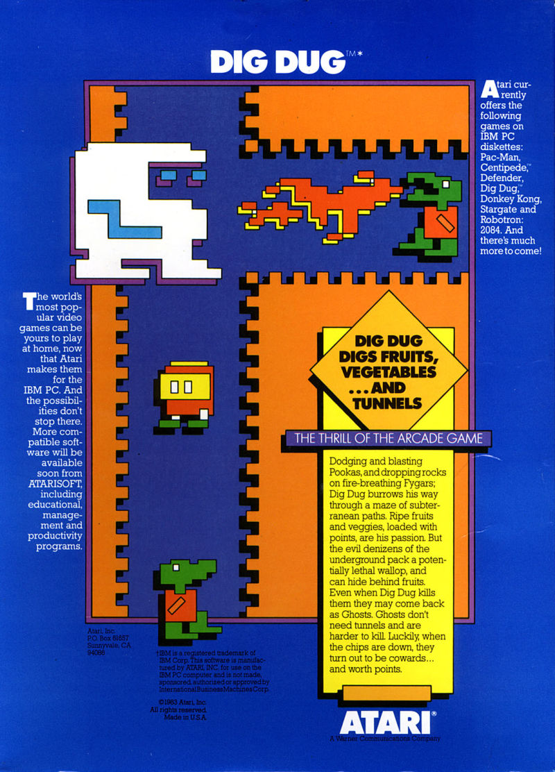 Dig Dug PC Booter Back Cover