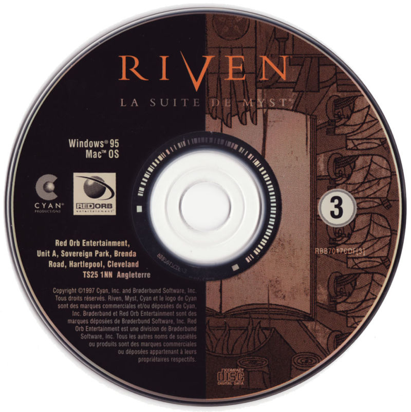 Riven: The Sequel to Myst Macintosh Media CD3