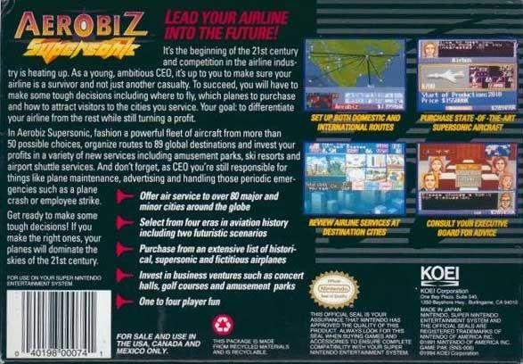 Aerobiz Supersonic SNES Back Cover