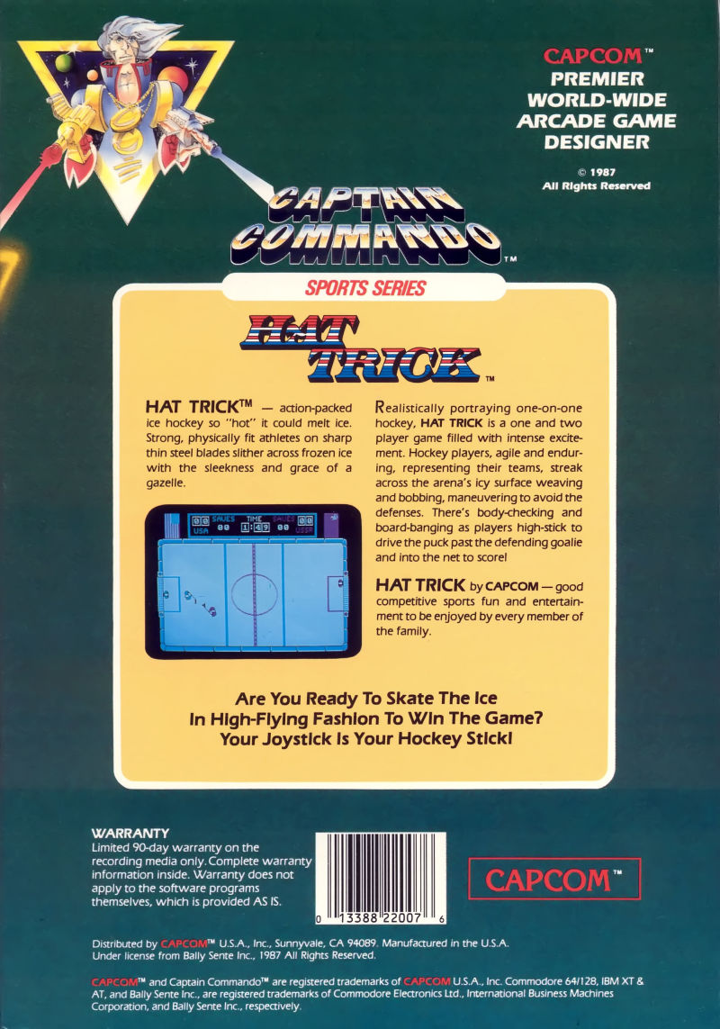 Hat Trick Commodore 64 Back Cover