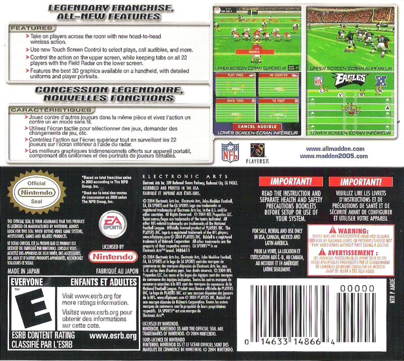 Madden NFL 2005 Nintendo DS Back Cover