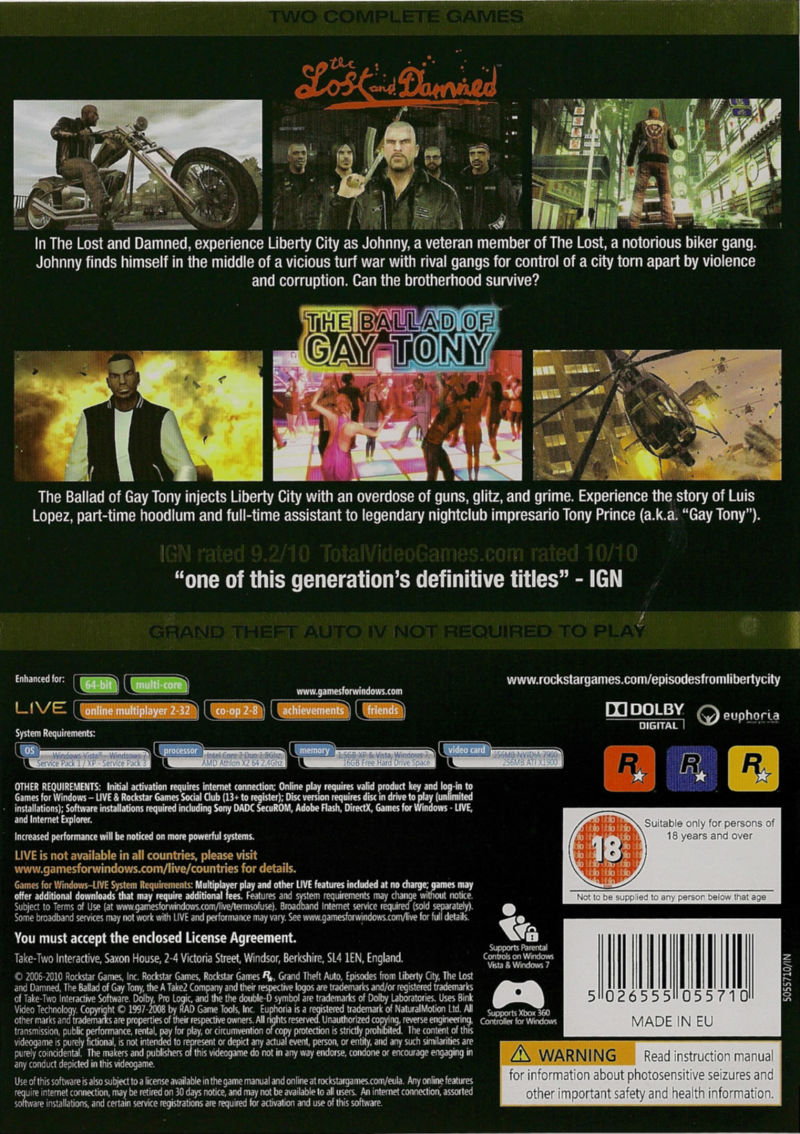 Grand Theft Auto: Episodes from Liberty City Windows Back Cover