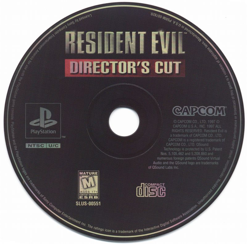 Resident Evil: Director's Cut PlayStation Media Game disc