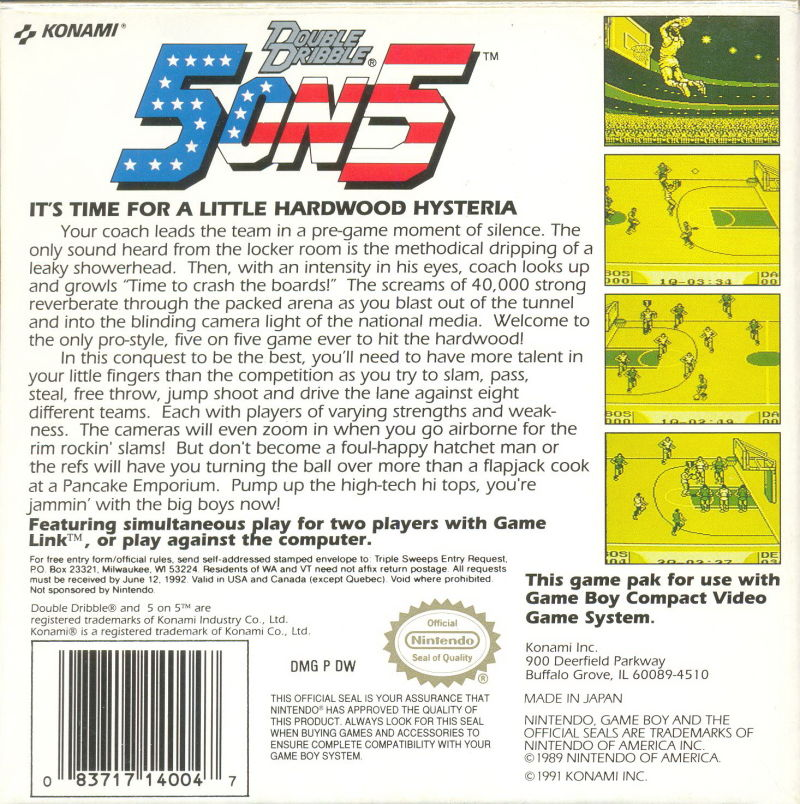 Double Dribble Game Boy Back Cover