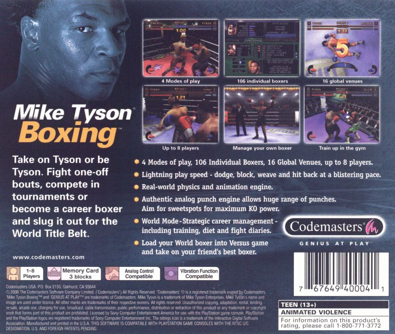 Mike Tyson Boxing PlayStation Back Cover