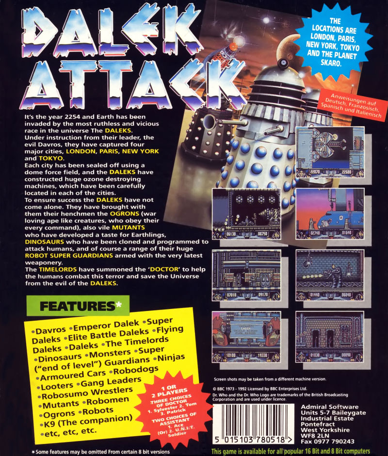 Dalek Attack Commodore 64 Back Cover