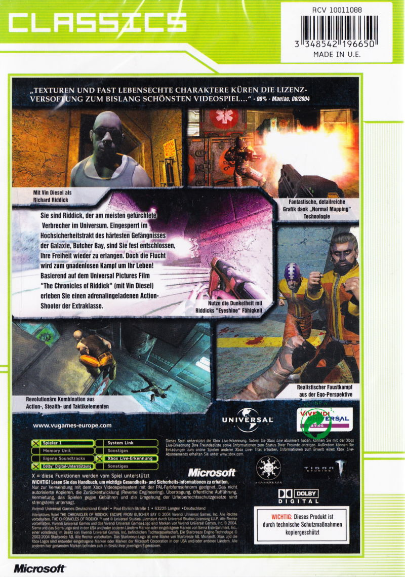 The Chronicles of Riddick: Escape from Butcher Bay Xbox Back Cover