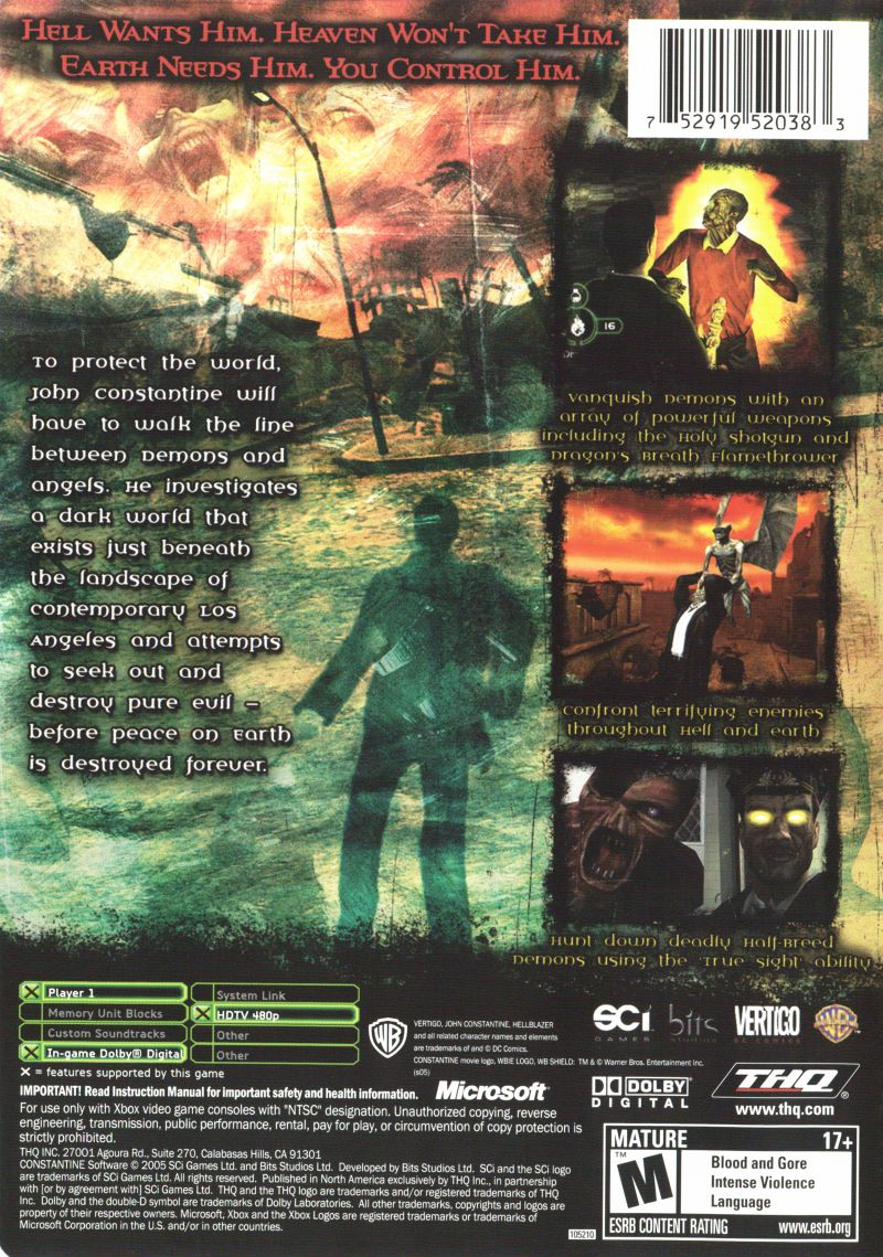 Constantine Xbox Back Cover