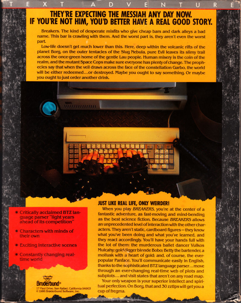 Breakers Apple II Back Cover