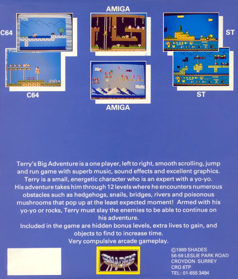 Terry's Big Adventure Commodore 64 Back Cover