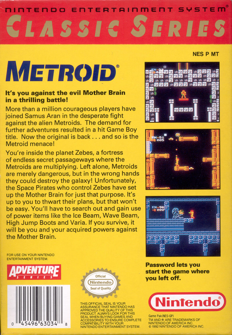 Metroid NES Back Cover