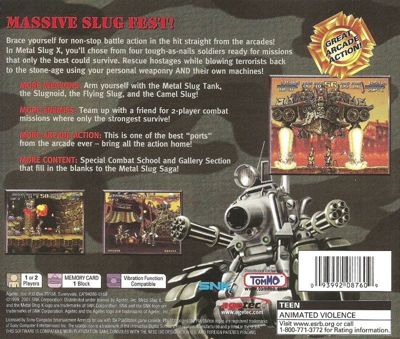 Metal Slug X PlayStation Back Cover