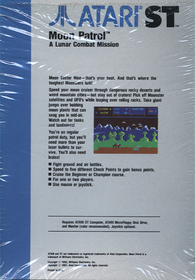 Moon Patrol Atari ST Back Cover