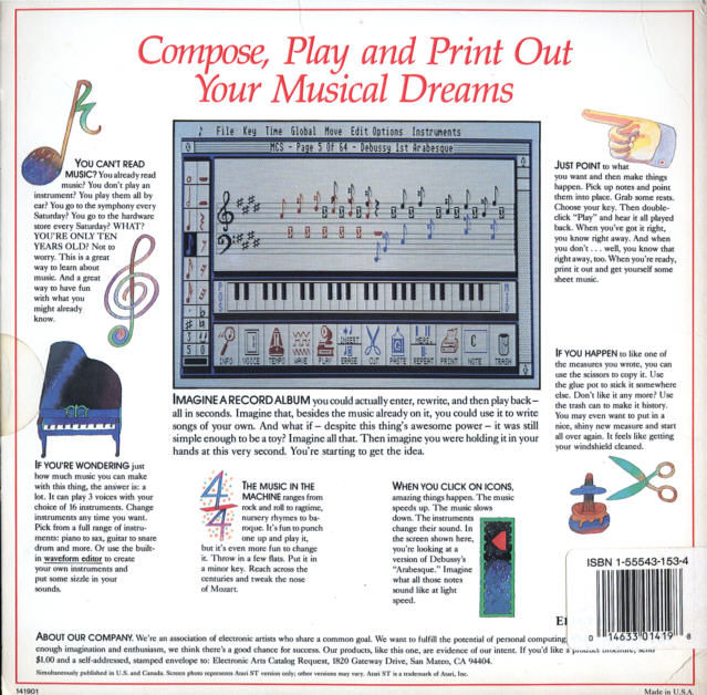 Will Harvey's Music Construction Set Atari ST Back Cover