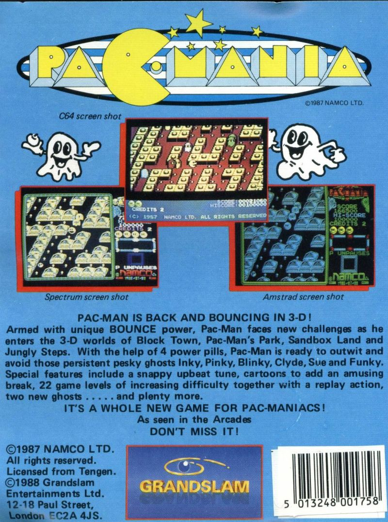 Pac-Mania MSX Back Cover