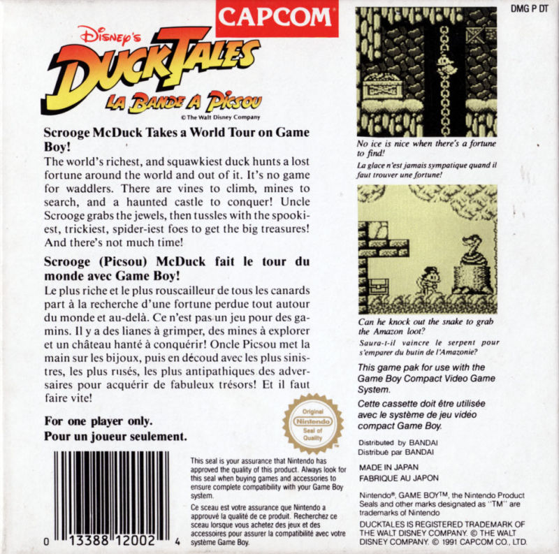 Disney's DuckTales Game Boy Back Cover