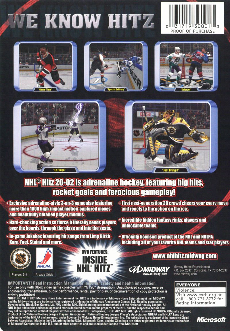 NHL Hitz 20-02 Xbox Back Cover