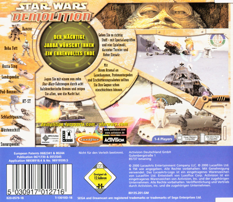 Star Wars: Demolition Dreamcast Back Cover