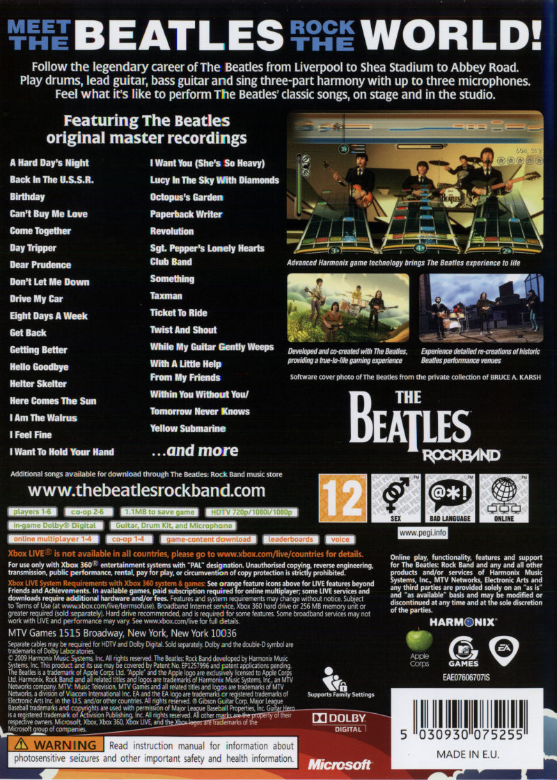 The Beatles: Rock Band (2009) Xbox 360 box cover art - MobyGames