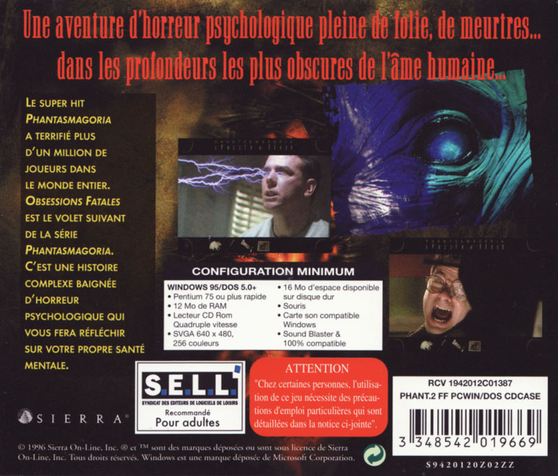 Phantasmagoria: A Puzzle of Flesh DOS Other Jewel Case - Back (jewel case 1 and 2)