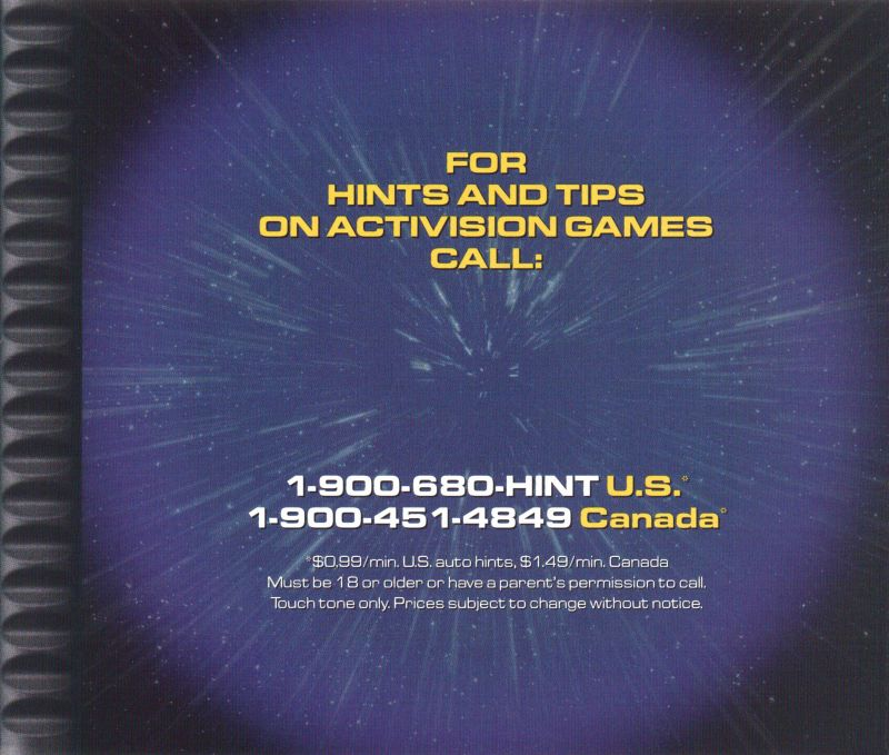 Asteroids PlayStation Inside Cover