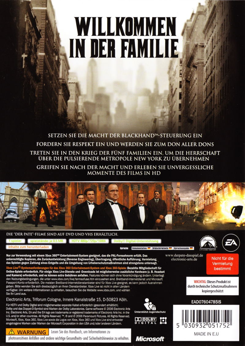 Xbox 360 Game Cover Back The Godfather: The Gam...
