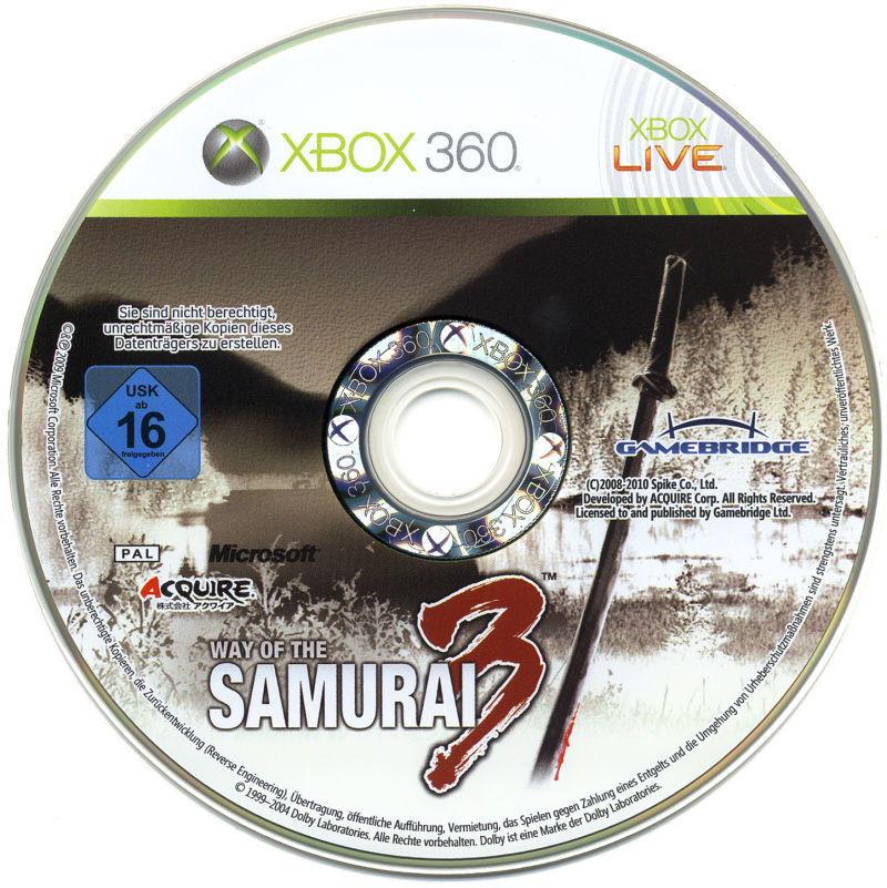 Way of the Samurai 3 Xbox 360 Media Game Disc