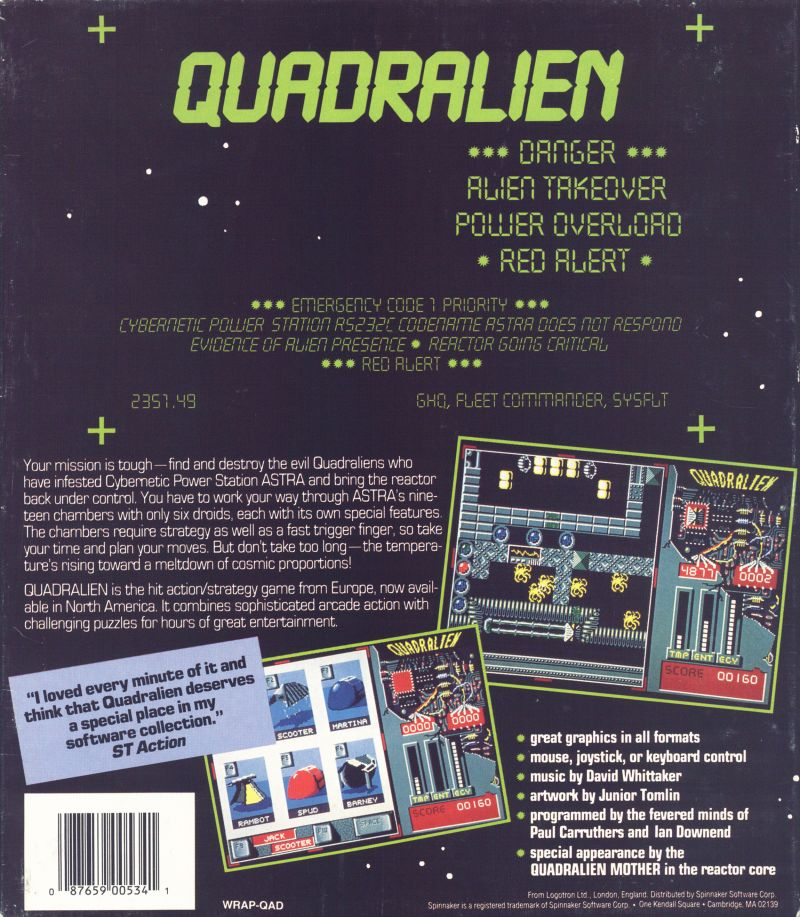 Quadralien DOS Back Cover