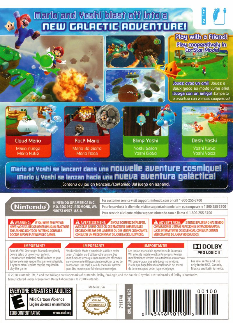 Super Mario Galaxy 2 Wii Back Cover