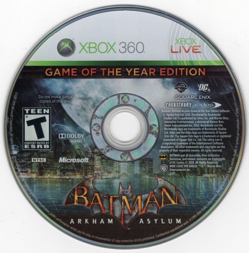 Batman: Arkham Asylum - Game of the Year Edition Xbox 360 Media