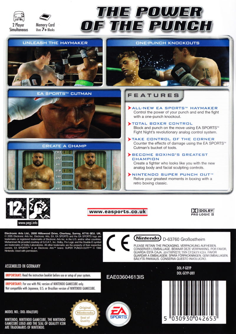 Fight Night Round 2 GameCube Back Cover