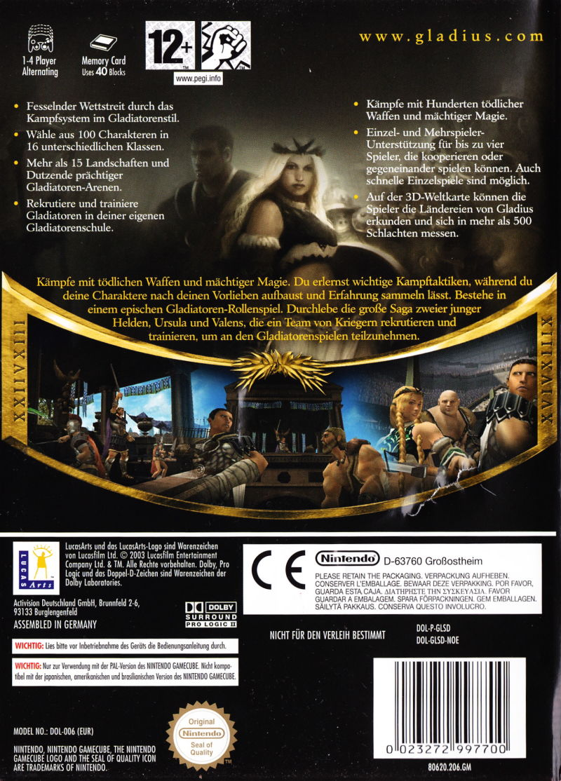 Gladius GameCube Back Cover