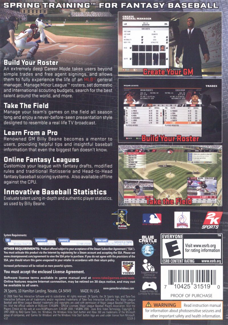 Mlb Front Office Manager Windows Back Cover