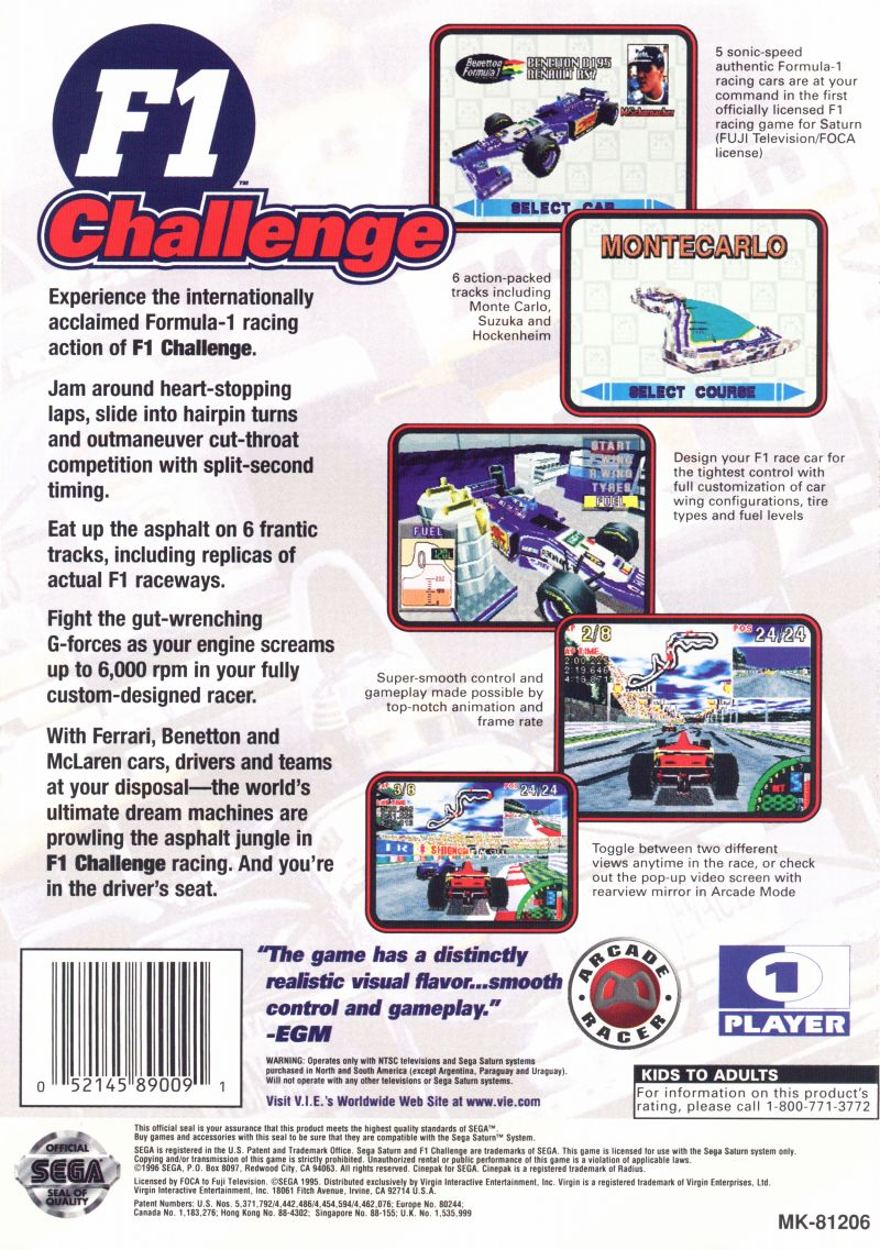 F1 Challenge SEGA Saturn Back Cover