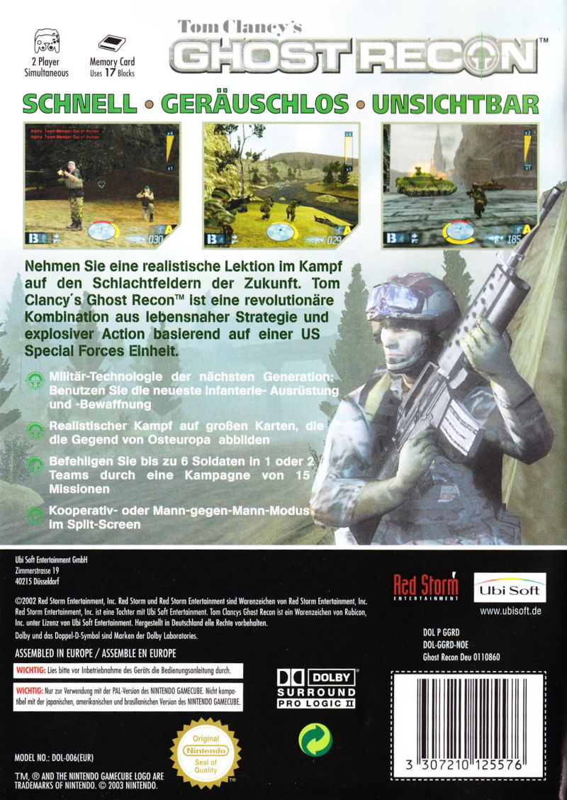 Tom Clancy's Ghost Recon GameCube Back Cover
