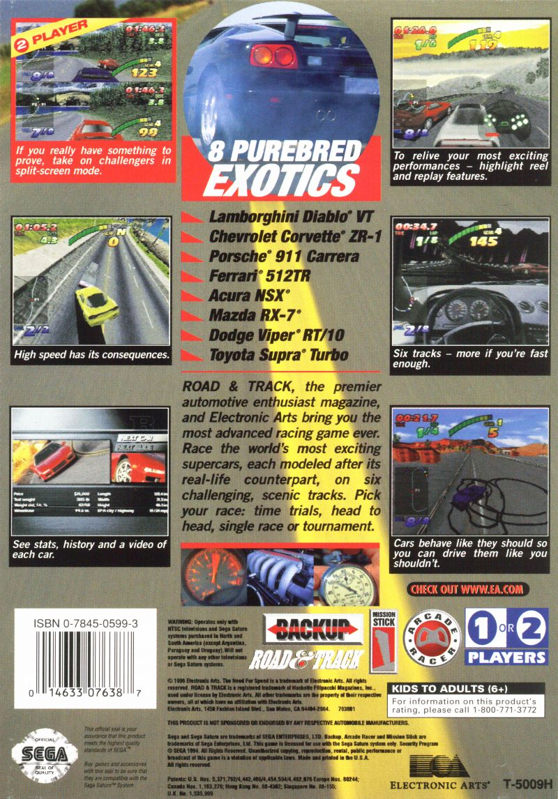 The Need For Speed SEGA Saturn Back Cover