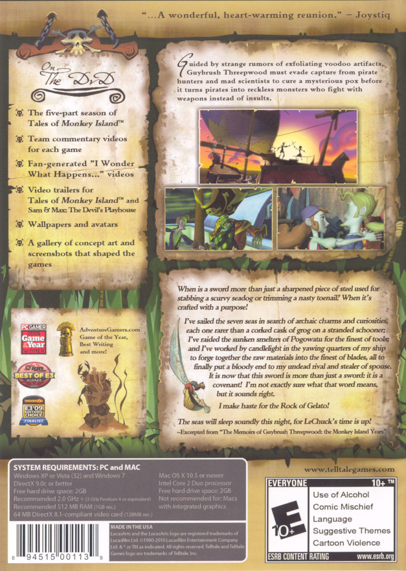 Tales of Monkey Island Macintosh Other Keep Case - Back