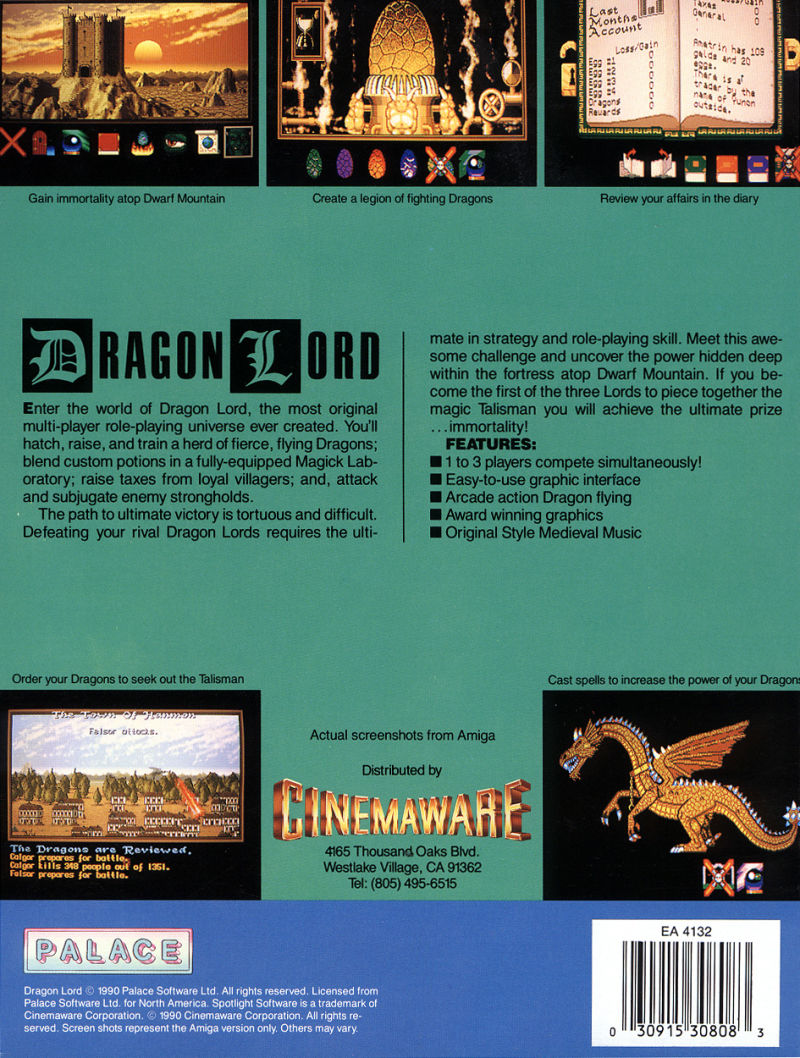 Dragon Lord DOS Back Cover