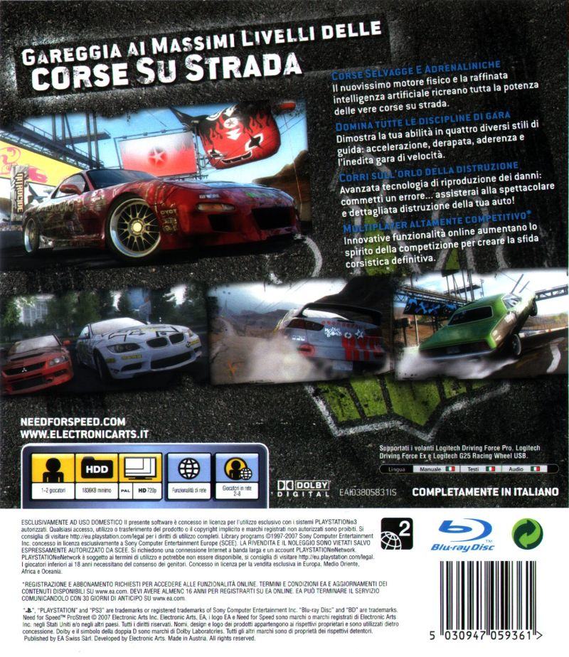 Need for Speed: ProStreet (2007) PlayStation 3 box cover ...