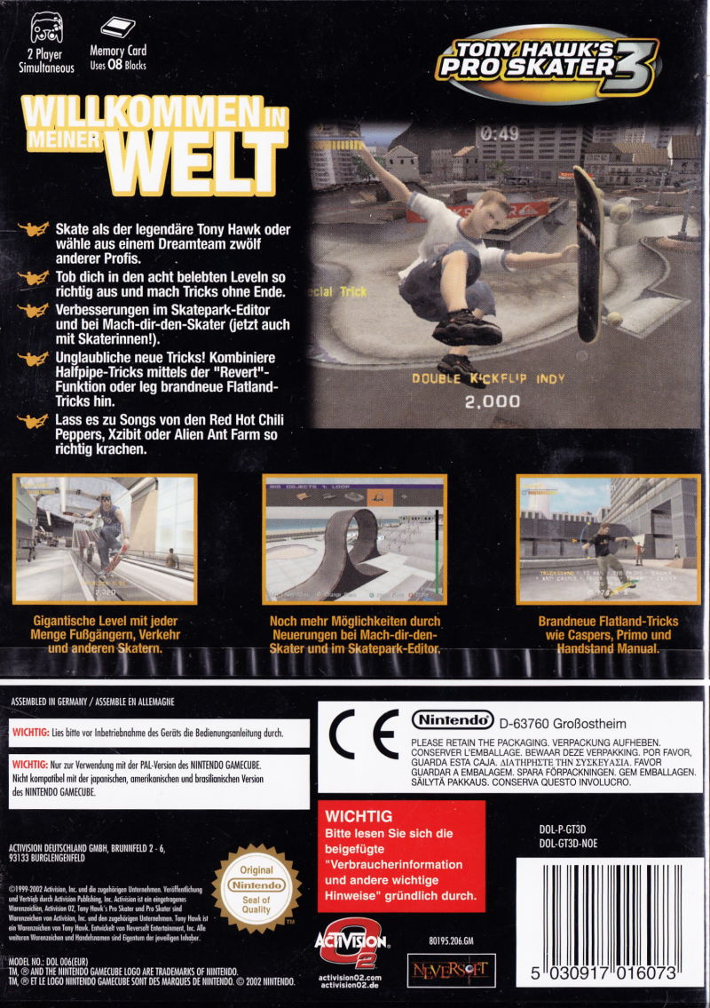 Tony Hawk's Pro Skater 3 GameCube Back Cover