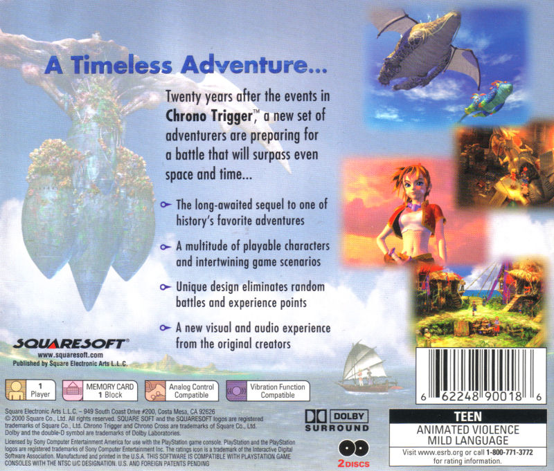Chrono Cross PlayStation Back Cover