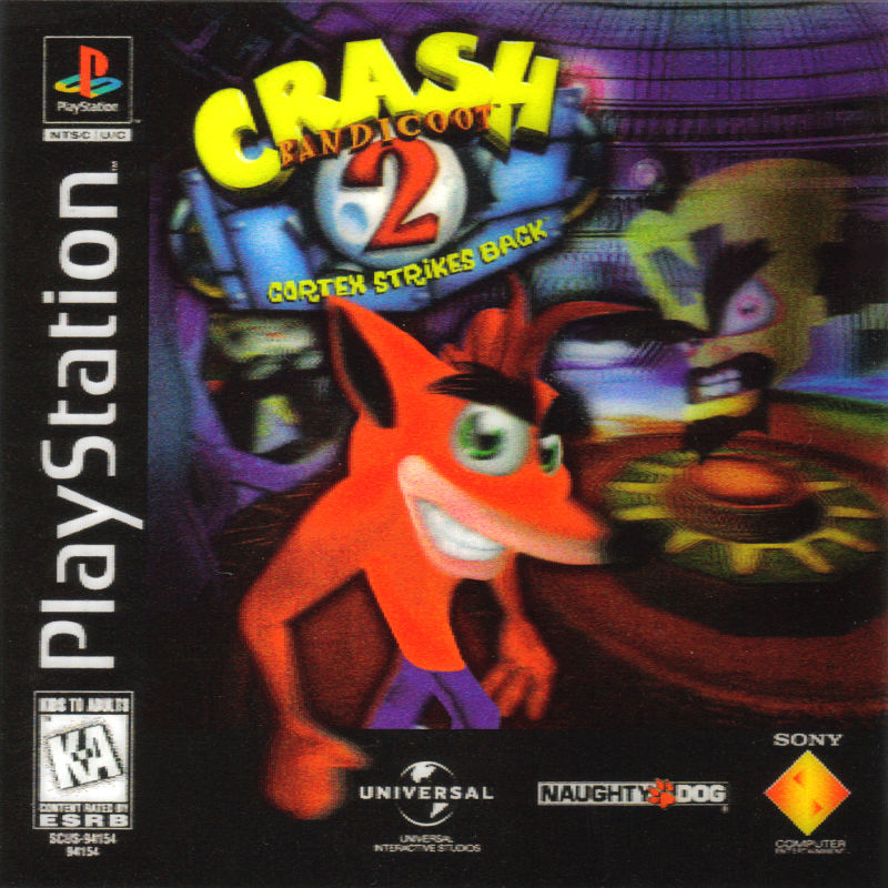 Crash Bandicoot 2: Cortex Strikes Back PlayStation Front Cover Holographic 3D Cover
