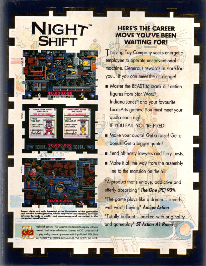 Night Shift DOS Back Cover