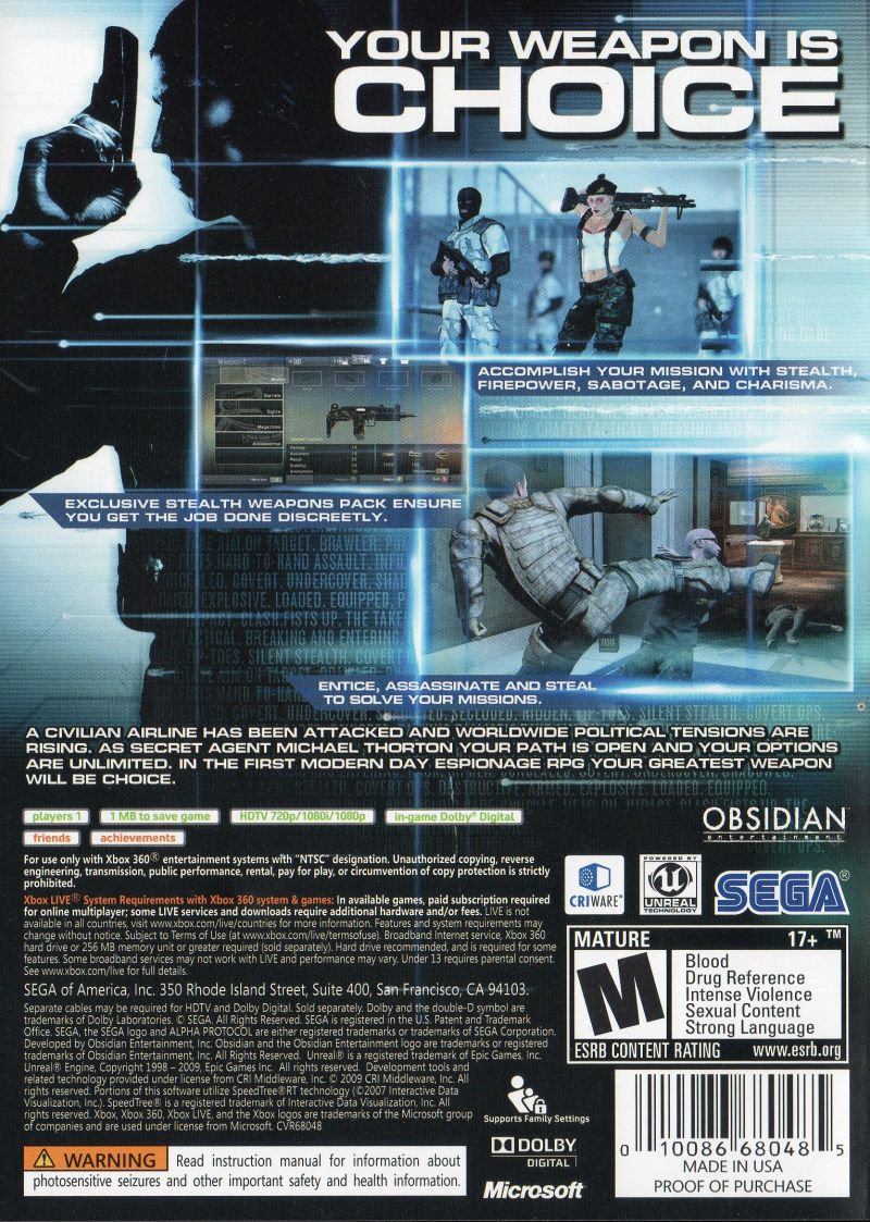Alpha Protocol Xbox 360 Back Cover
