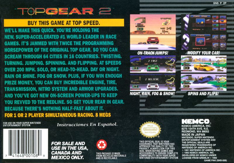 Top Gear 2 SNES Back Cover