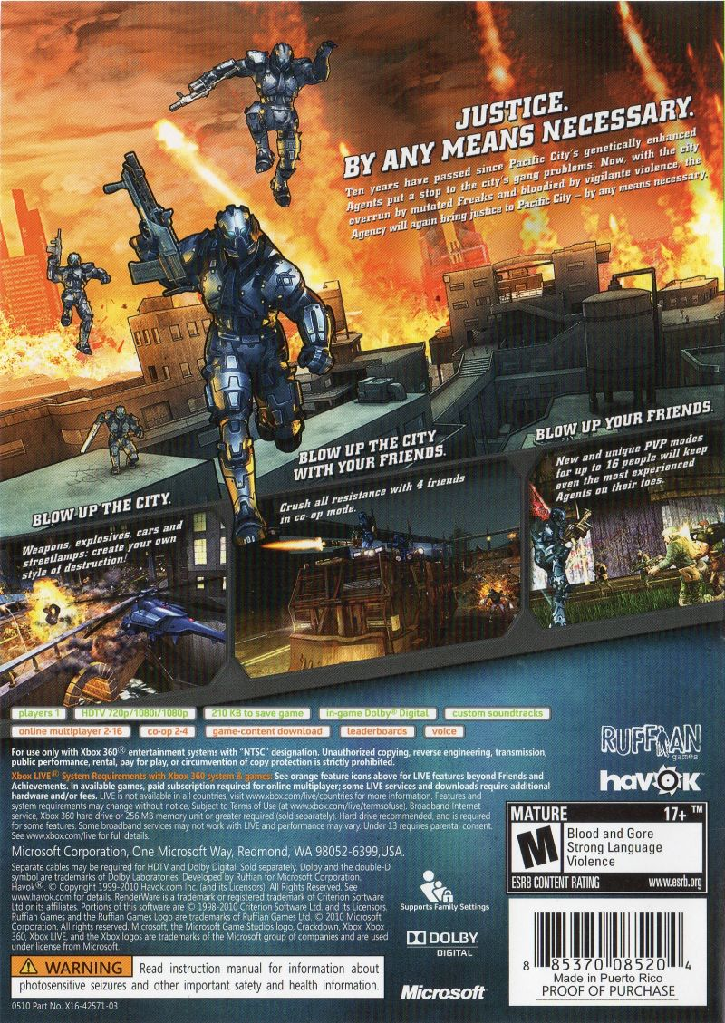 Xbox 360 Game Cover Back Crackdown 2 (2010) Xbo...