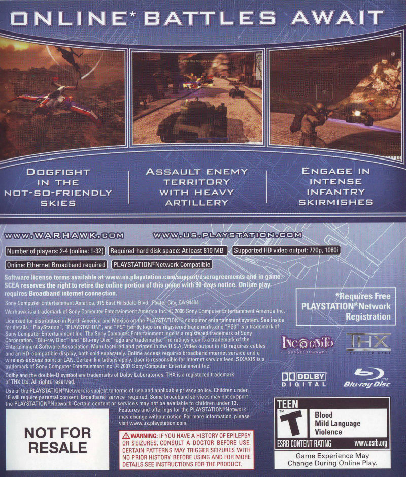 Warhawk PlayStation 3 Back Cover